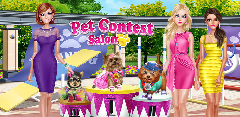 Pet Show Contest: Beauty Salon  A pet contest is coming to town! Do you have the skills to win? Grab your dog and prepare to wow the judges! First, you'll need to train your pup to behave and walk down the catwalk like a pro.