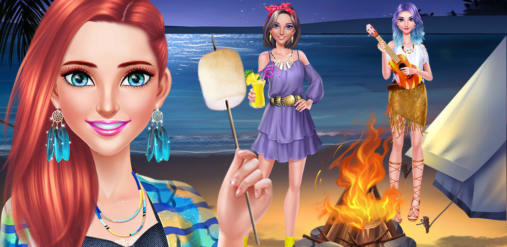 Girls Beach Party Night Salon  Beach party! You and your BFF were invited to the party at the beach where you're going to enjoy a campfire while camping out under the stars!