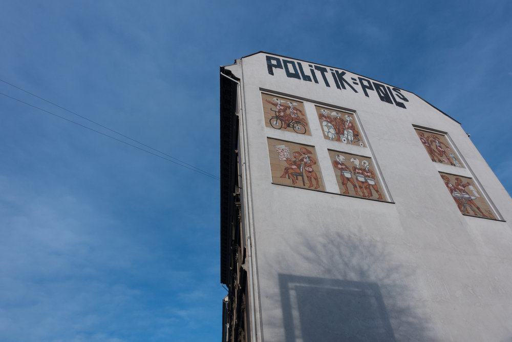 adj. - Politik can be understood in many languages.On this Copenhagen wall, it means