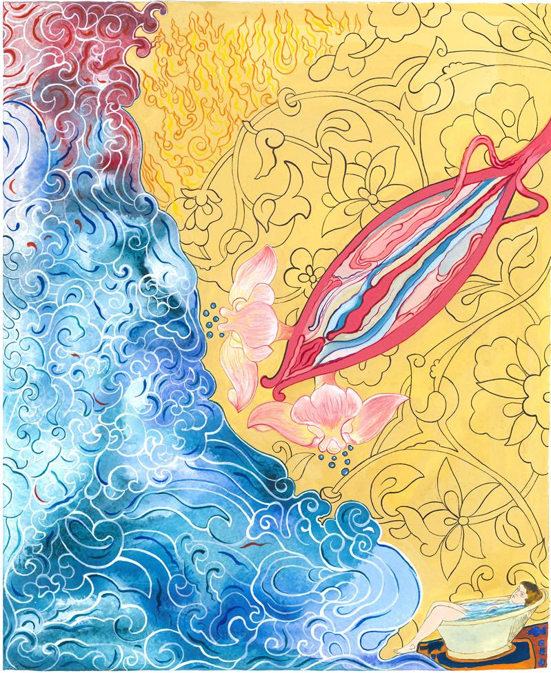 Cansu Çakar,Repetitive pattern - watercolour on paper / Tekrarlayan desen-kağıt üzerine suluboya, 2015 25-30 cm