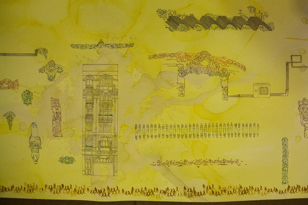 Cansu Çakar, Himenoplastik Panorama, detail, 2015,  watercolour, ink, safran, nigella and gold on paper