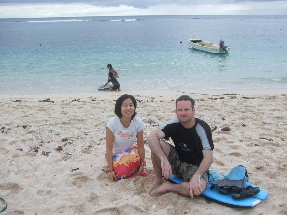 Pic: Tomoe and Stuart on Ha'atafu Beach