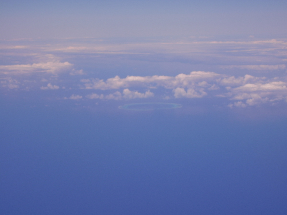 Pic: Not a flying saucer - view from the plane window of North Minerva Reef
