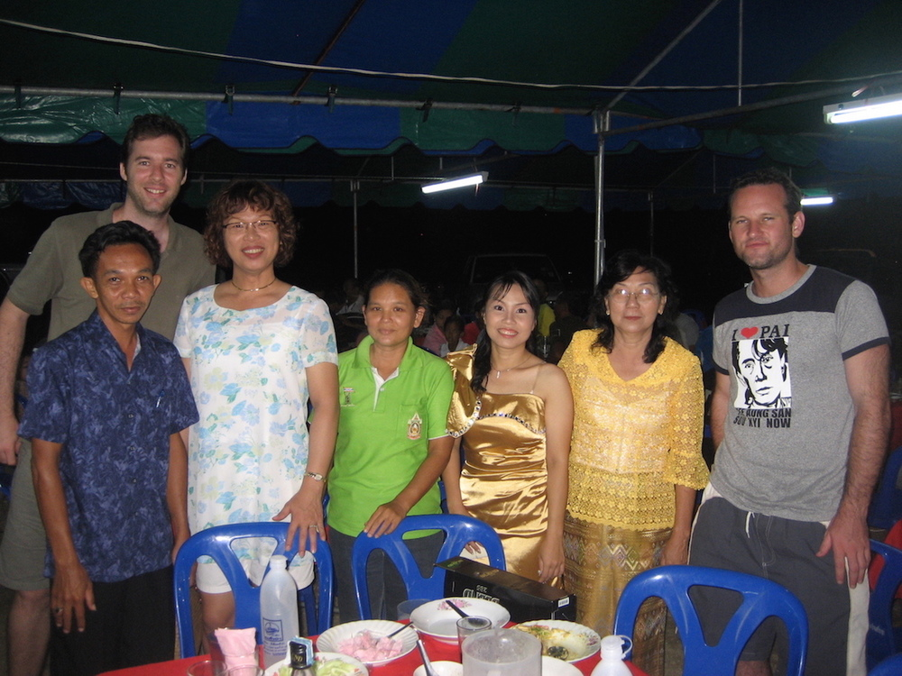 Pic: Thai wedding guests - Aoi's friend, Tom, Aoi, wedding guest, the bride, the bride's mum, the author