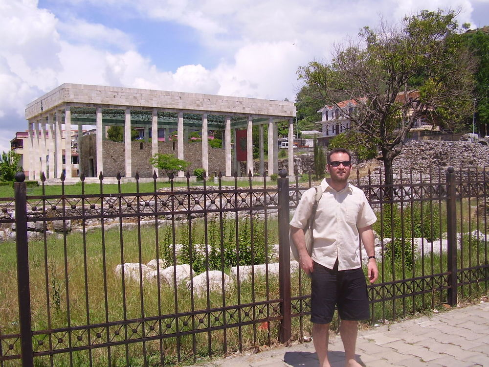 Pic: The author outside Skanderbeg's resting place in Lezhë