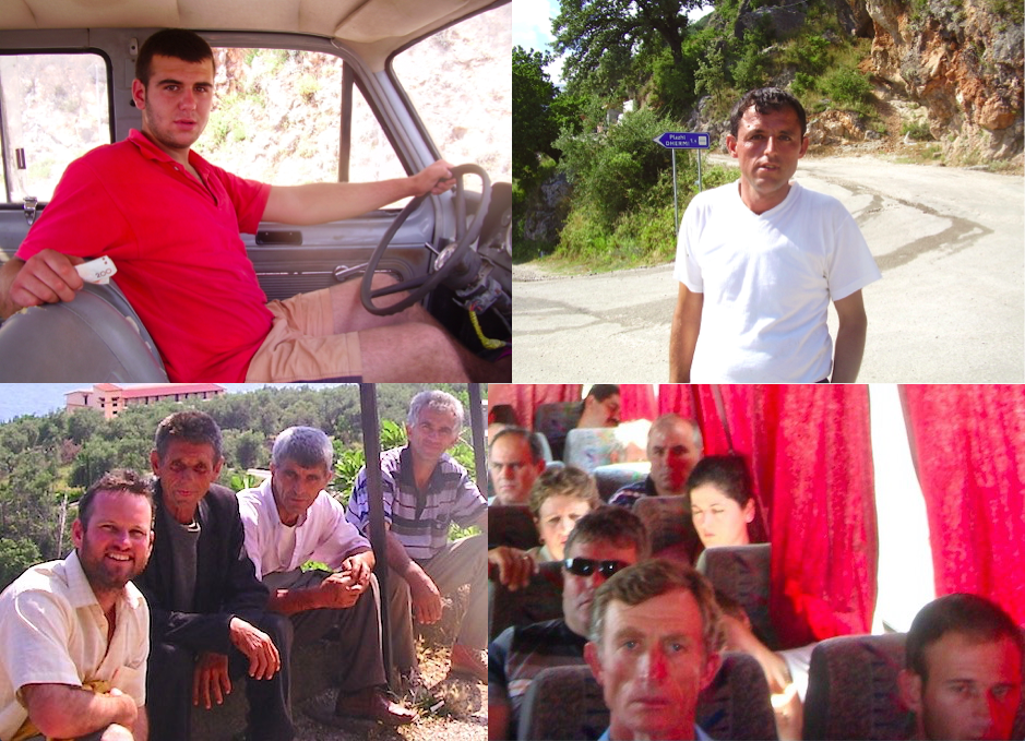 Pic: The Solemn Stares of Albania (clockwise from top left) - Truck driver, Young Man at Dhërmi Beach turnoff, Me (left) with the doing not much guys, Bus passengers from Himarë