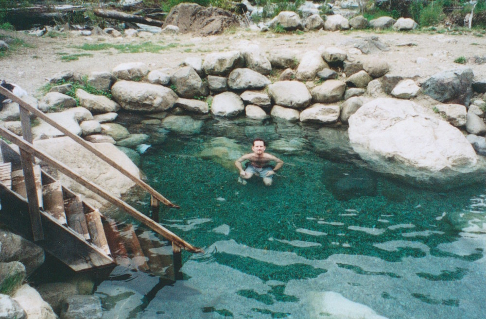 Pic: The author sweats out last night's wine in Los Pozones hot spring, 35km east of Pucon