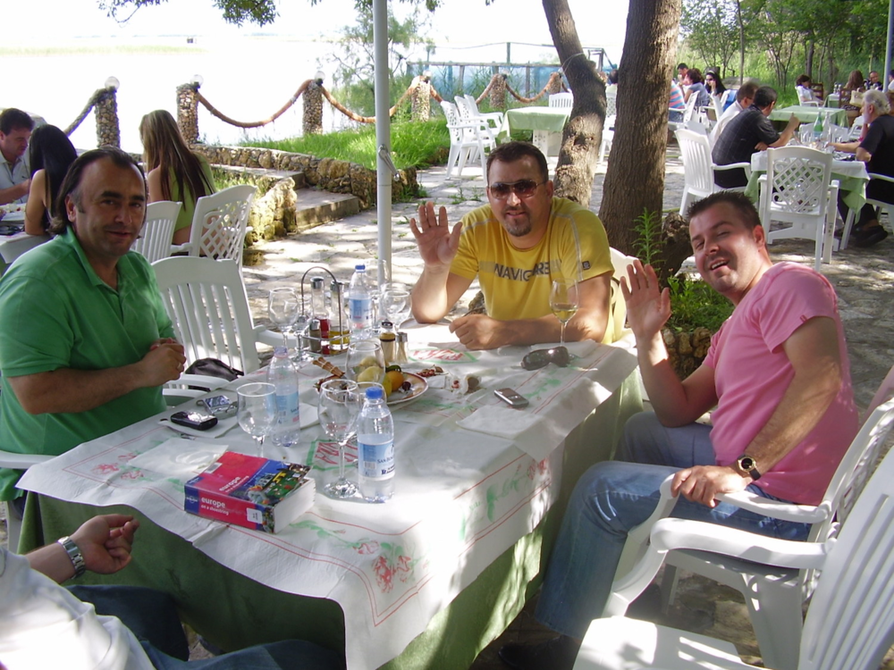 "Pic: From left, ""Arber"", ""Zamir"" and ""Rinor"" - Lunch by the lake. One thing I didn't notice at the time is that they all like brightly coloured shirts"