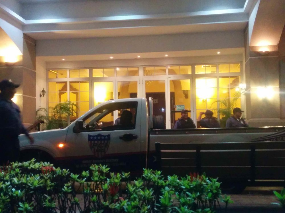 Security Personnel set up outside the Socceroos' hotel in San Pedro Sula, Honduras