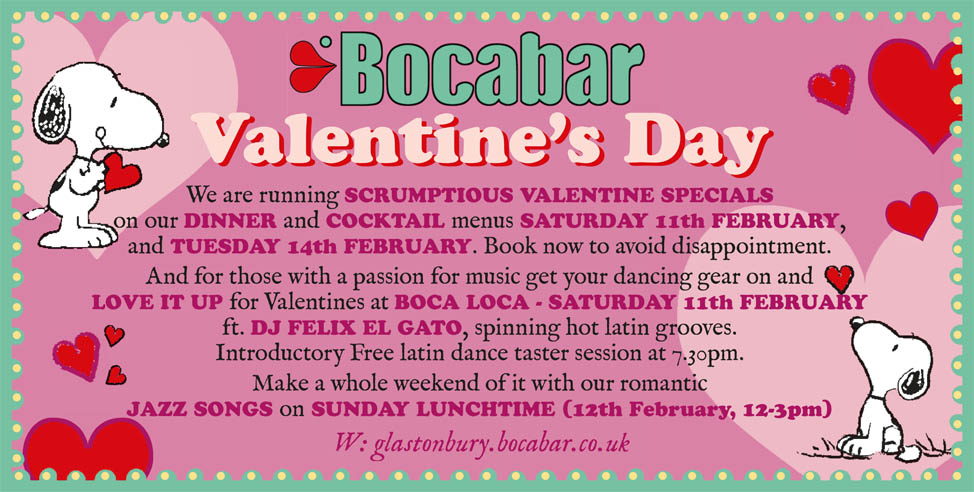We are running SCRUMPTIOUS VALENTINE SPECIALS on both our DINNER and COCKTAIL menus this SATURDAY, 11th FEBRUARY, and TUESDAY 14th FEBRUARY. Book now to avoid disappointment. And for those with a passion for music get your dancing gear on and LOVE IT UP for Valentines at BOCA LOCA - Saturday 11th February ft. DJ FELIX EL GATO, spinning hot latin grooves. Introductory Free latin dance taster session at 7.30pm. Make a whole weekend of it with our romantic JAZZ SONGS on SUNDAY LUNCHTIME (12th February, 12-3pm)