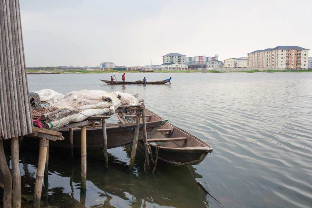 The peninsula is part of Lekki in the south of Lagos. Much of the surrounding land is owned by the powerful Elogushi family.