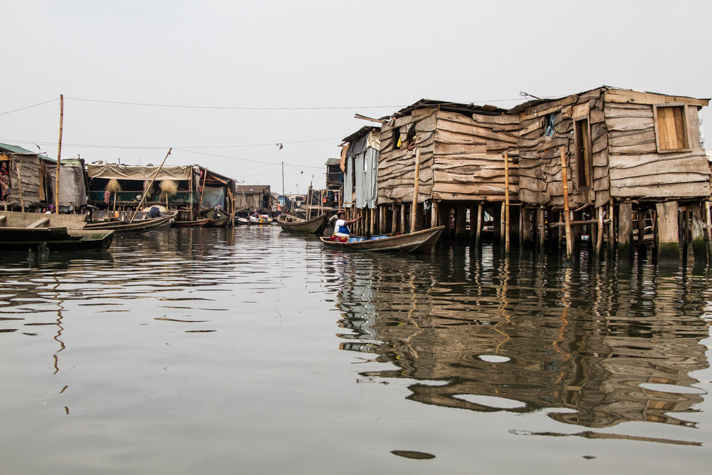 """Sogunro is one of the six """"villages"""" that make up the larger Makoko area. The community is one of many waterfront settlements, and is spread across land and water"""