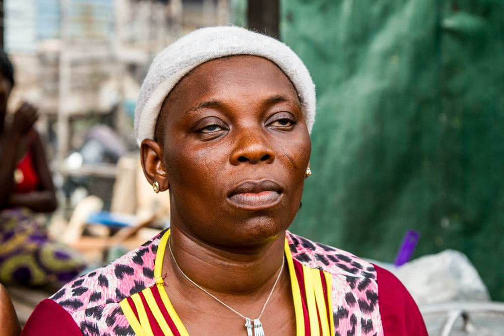 """One of the evictees taken in by Janet is Veronica Agbogla. Veronica was blinded by the fires that were lit during the brutal evictions. """"I lost my house, all my property, and everything I have laboured for""""."""