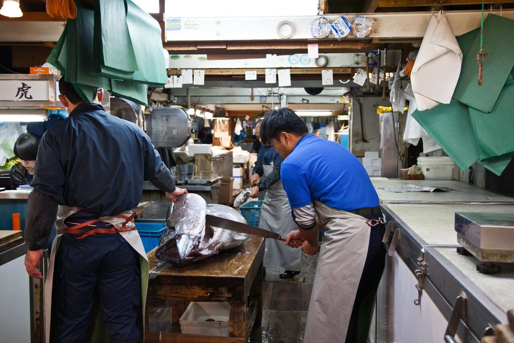 Some of the tuna from the morning's auction is taken directly to wholesalers in the market who waste no time in cutting the fish, ready for transportation to Tokyo's sushi restaurants.