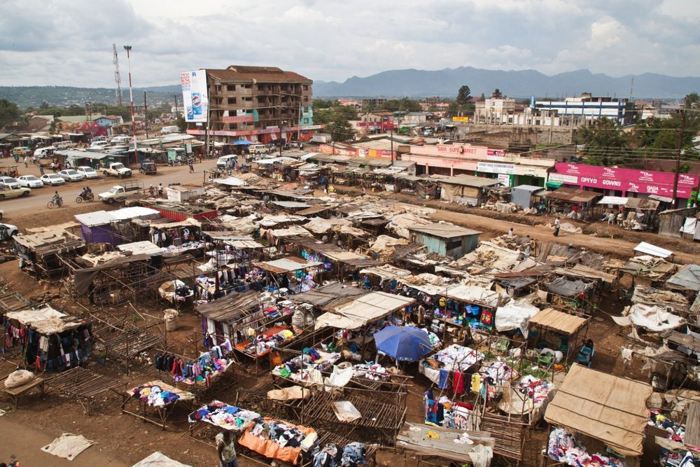Kondele market sits beside Kondele roundabout in Kisumu. It is considered informal by the government who are trying to evict the traders.