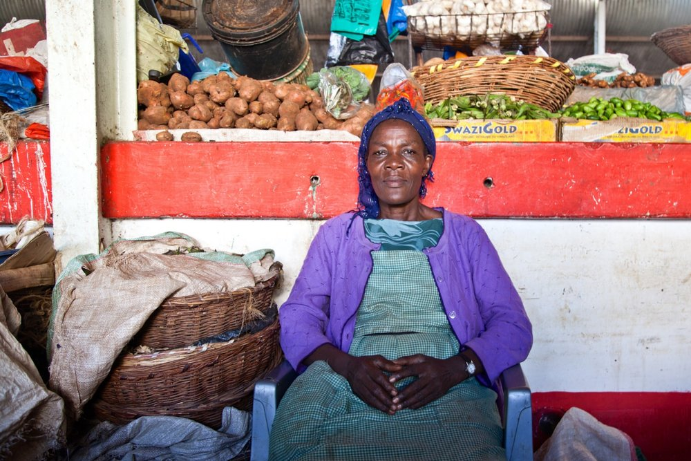 Teresa    began trading at Jubilee market in 1982 where  her daughter, sister, and niece are also working.  For Teresa business isn't as good as it used to be due to the traders who were forcibly evicted from nearby Oile market being accommodated in Jubilee where there is inadequate space.