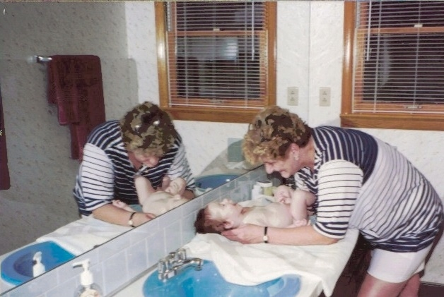My Mom totally living her dharma with my first baby, Richie (who is now 24 yrs)