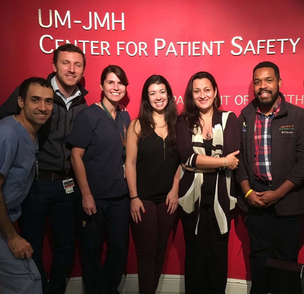 First Ultrasound Course class. Left to right: Ben Meza, Camilo Cortesi, Charlotte Morel, Melissa Vitolo, Maria Mosetti, Brent Parris, Joshua Lenchus