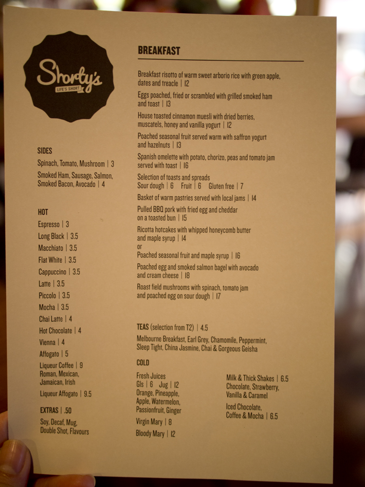 Shorty's breakfast menu