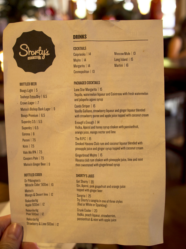 Shorty's drinks menu