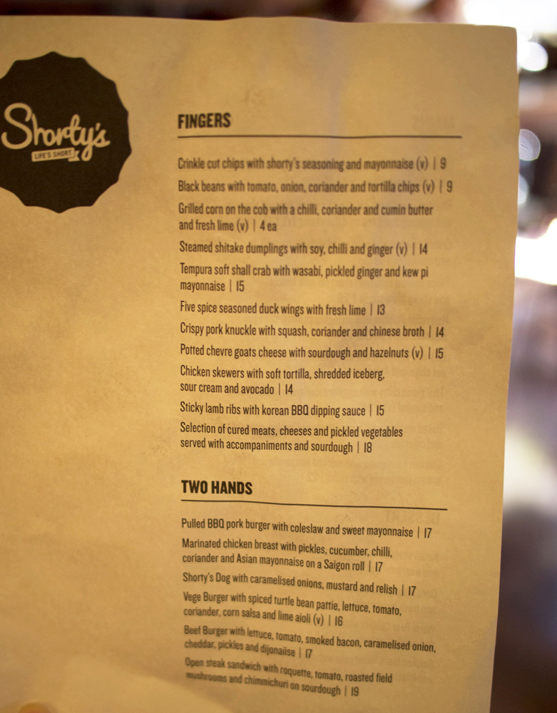 Shorty's snack menu