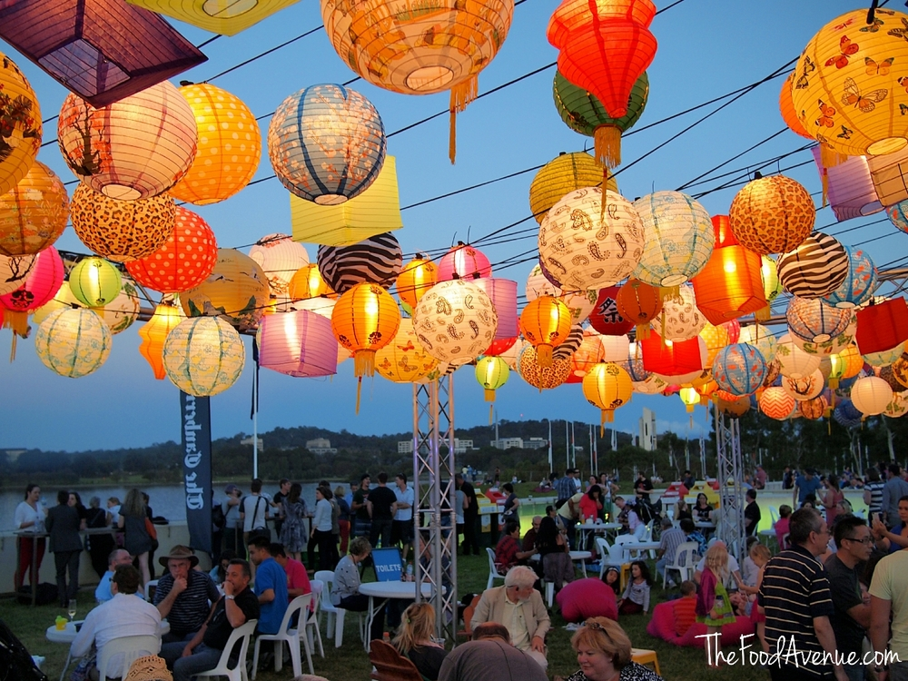 Canopy of lanterns at the Enlighten Night Noodle Markets