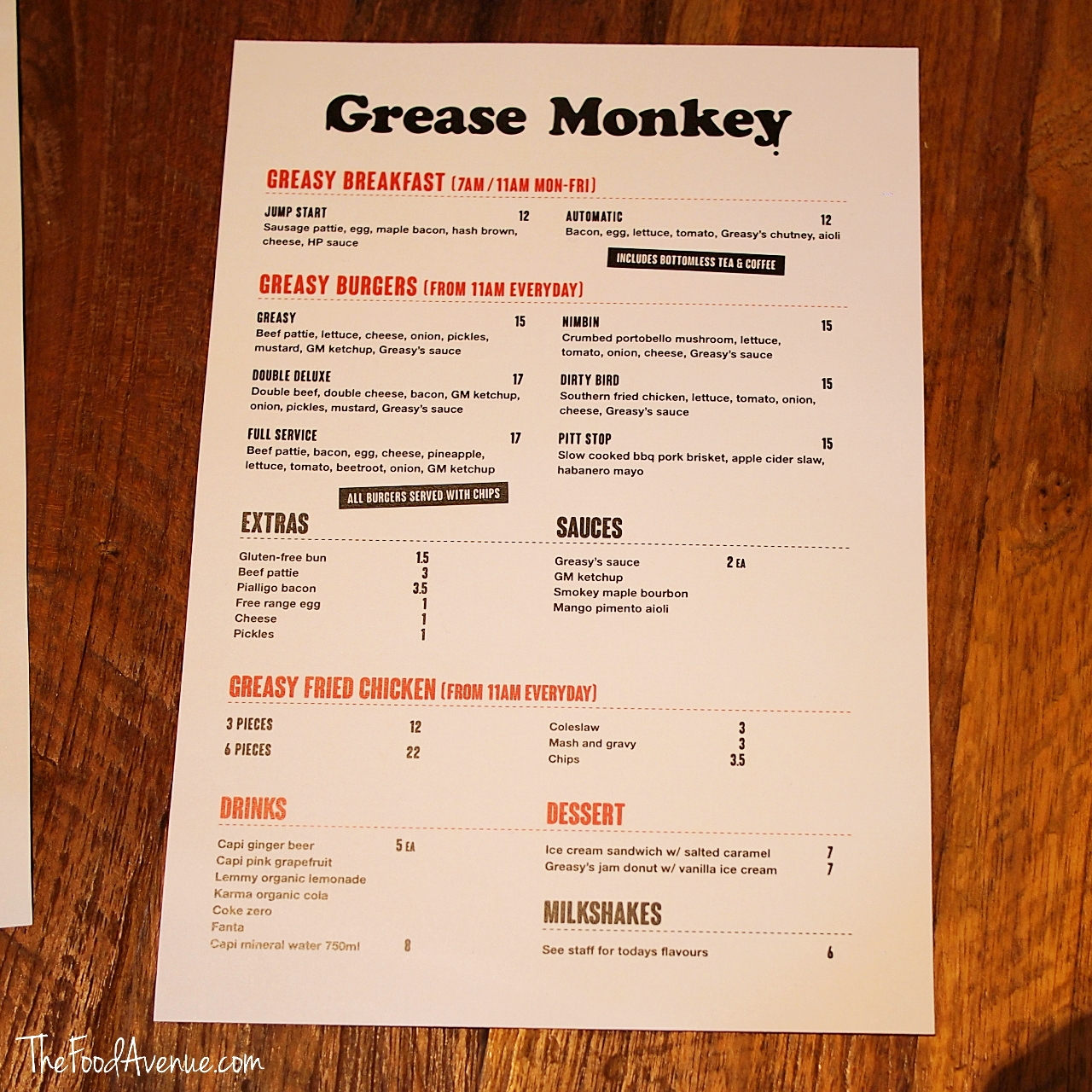 Grease Monkey First Look And Menu The Food Avenue