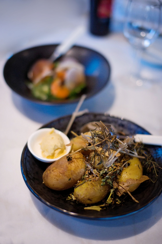 Hay-baked kipfler potatoes with smoked miso butter