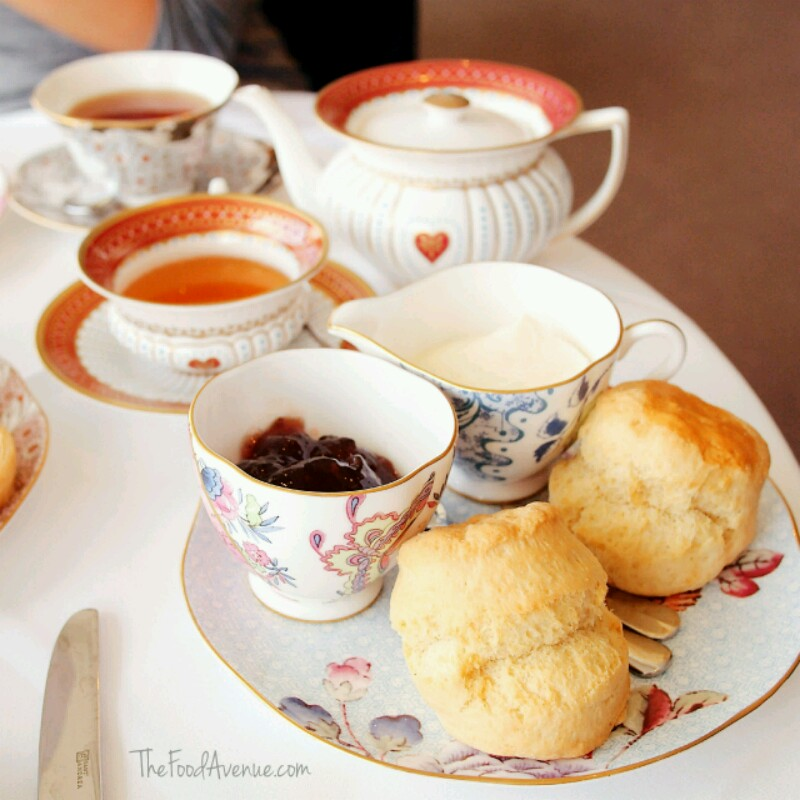 Fresh scones with jam and cream
