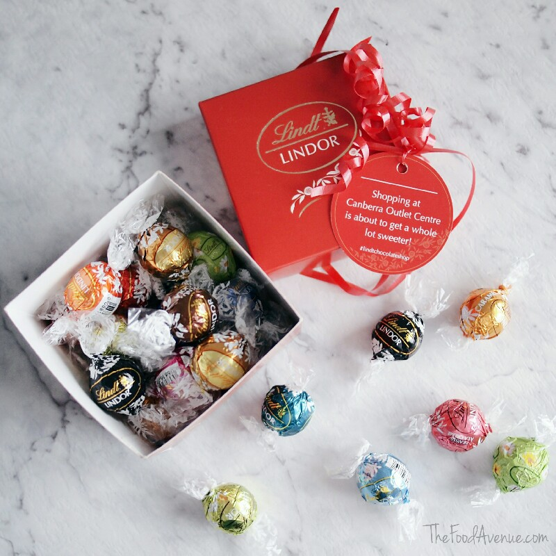 Selection of Lindor balls on offer at the Lindt Chocolate Shop