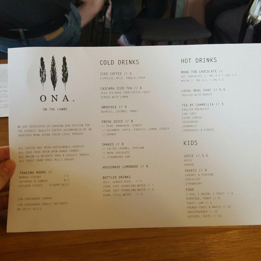 Ona drinks menu