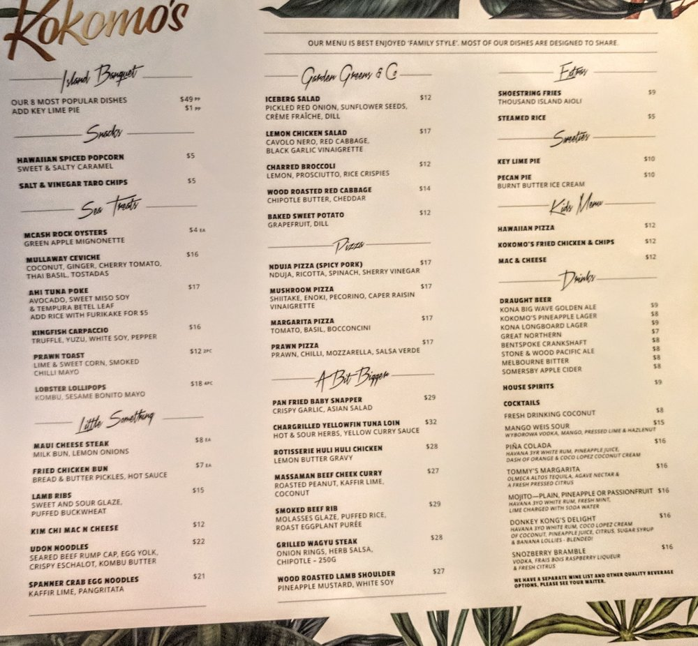 Food and drinks menu