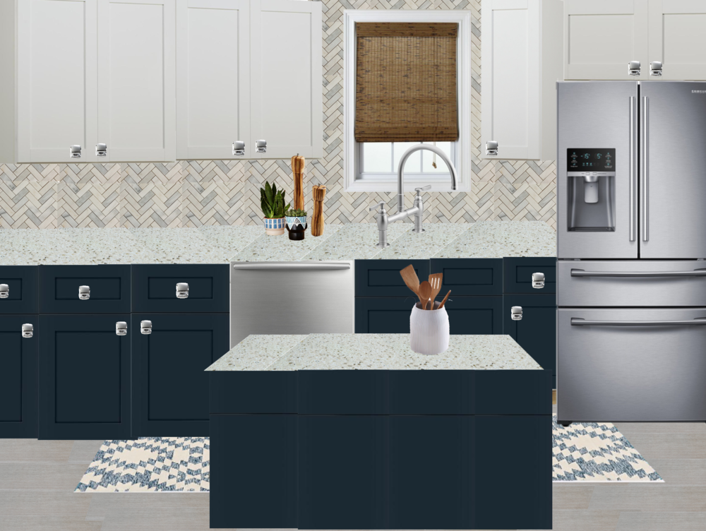 Navy Base Cabinets And White Uppers Kitchen Design