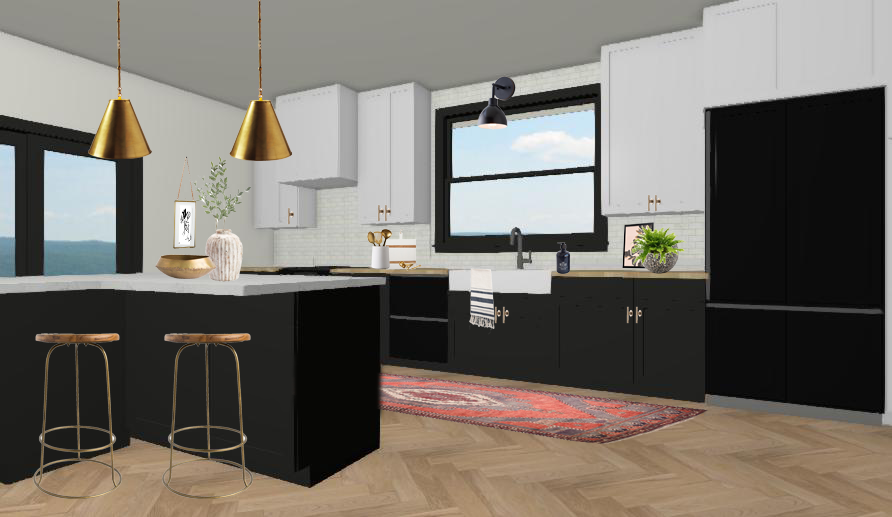 3D Black And White Kitchen Example