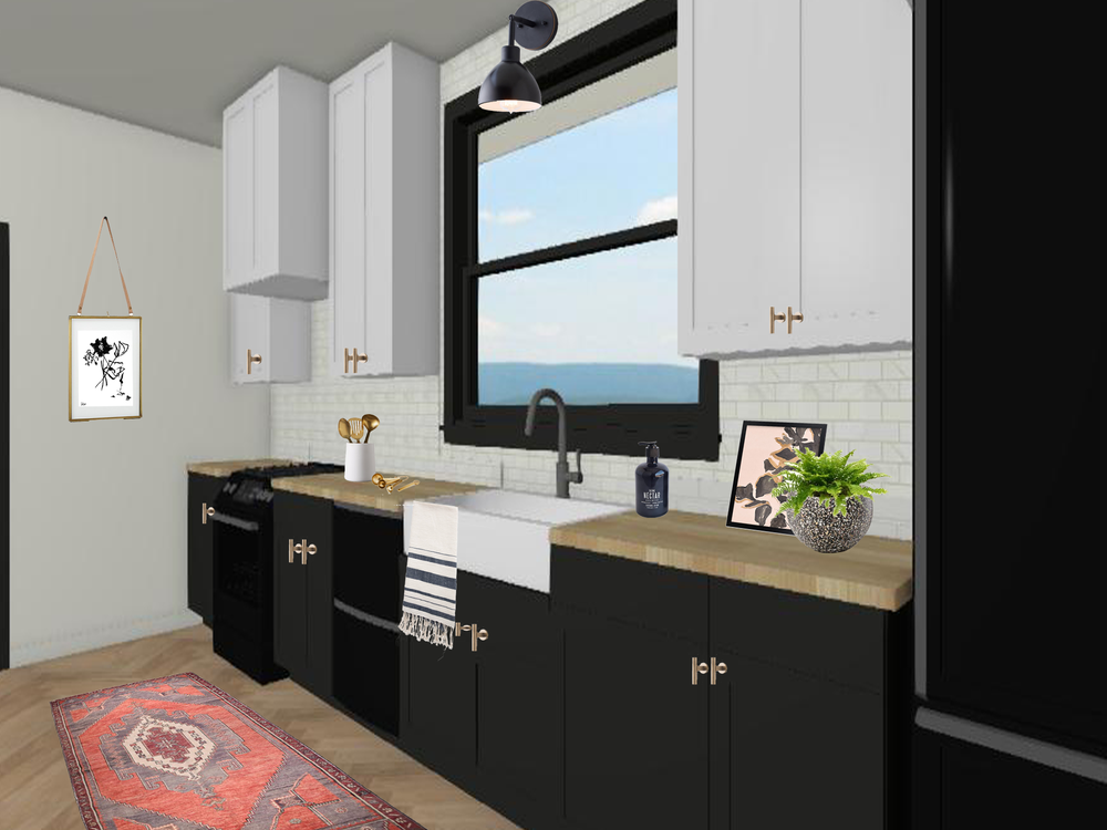 3D Black And White Kitchen