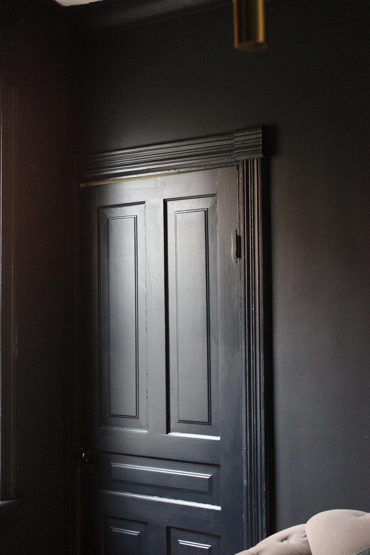 One Room Challenge BM Soot Painted Door And trim