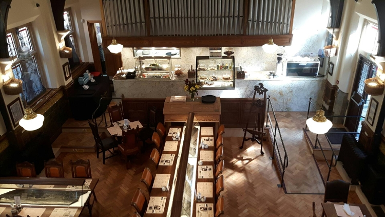 The new Museum of Whitby Jet restaurant with specially designed display tables