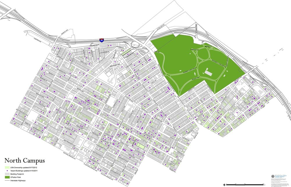 SLDC Map of North Campus, with vacant buildings