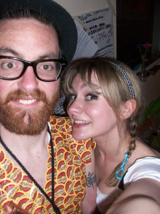 Abi & I at a Eurovision party. I'm covered in cheese stickers representing Switzerland... Jarlsberg is Norwegian.