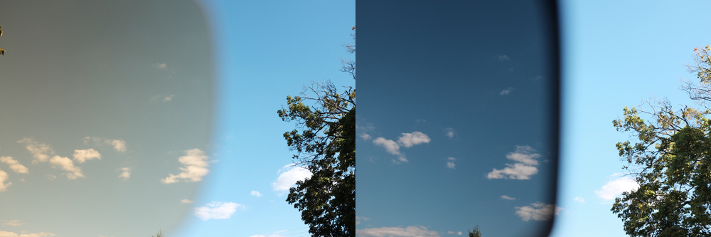 A cross-section of a harsh-lit sky through both lenses.