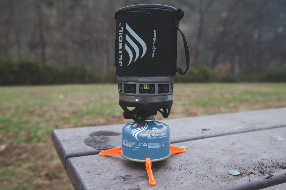 Full Jetboil set up. In action.