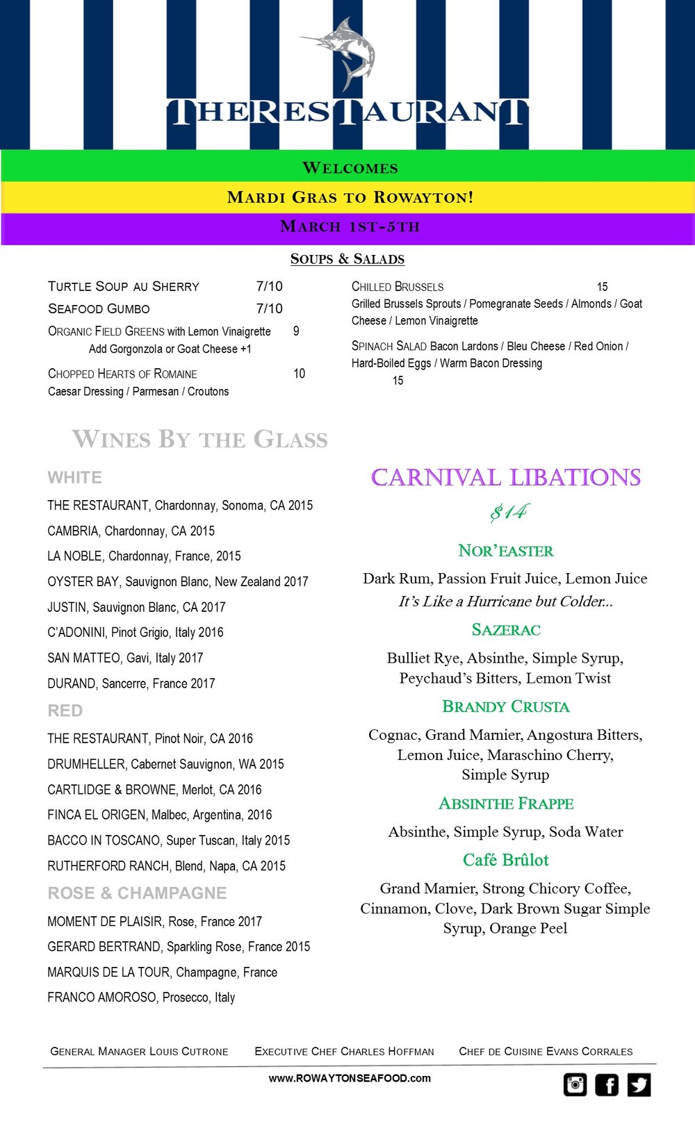 Mardi Gras in Rowayton! - Laissez Les Bon Temps Rouler as Chef Charles brings the Spirit of Carnival to Rowayton Seafood! From March 1st-5th The Restaurant will replace its'usual Menu and Decor with the Music, Cocktails, and Cuisine of the Big Easy.Please Note We WILL NOT be Serving our Regular Menu from Friday March 1st to Tuesday March 5th…..