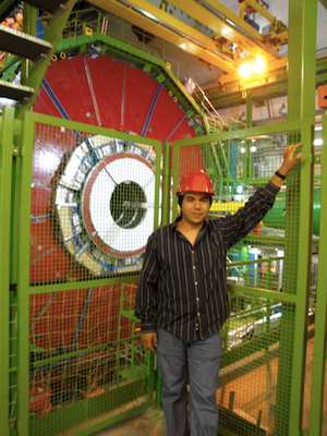 - Dr Alfredo Castaneda (Texas A&M University at Qatar) standing in front of the Compact Muon Solenoid (CMS) detector at CERN, where GEM could be installed.