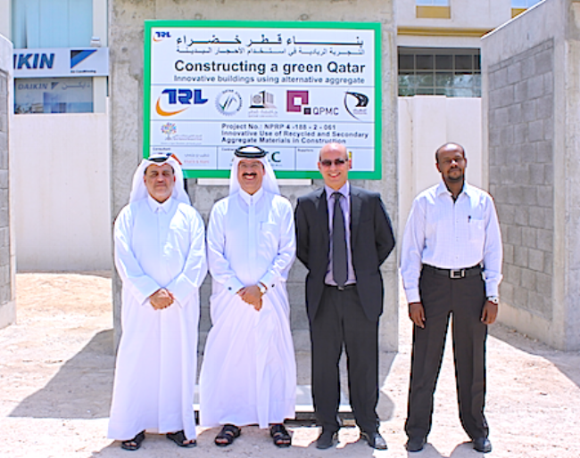 (L-R) Eng. Khalid Al-Emadi, Manager of Quality, Safety & Environment, Department Public Works Authority (Ashghal), Dr Mohammed bin Saif Al-Kuwari, Under Secretary Laboratories and Standardization Affairs, Ministry of Environment, Dr. Khaled Hassan, and Osman El Hussien Mohammed, Quality Researcher,Quality Safety & Environment Dept.,Public Works Authority