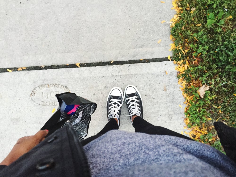 On my way to school back in September, carrying my running shoes cause I had a physical education class. The last time I had done any type of phys-ed before this was way back in grade 9, lol no word of a life.