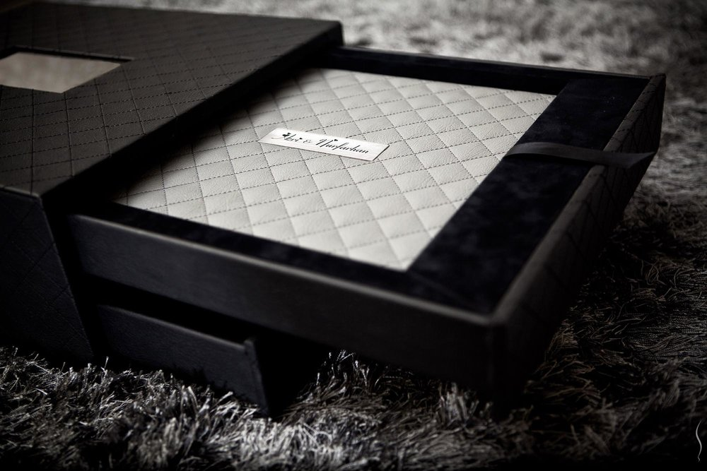 Cross-stitched Synthetic Leather with Names on a Metal Plate and Custom Drawer-Box