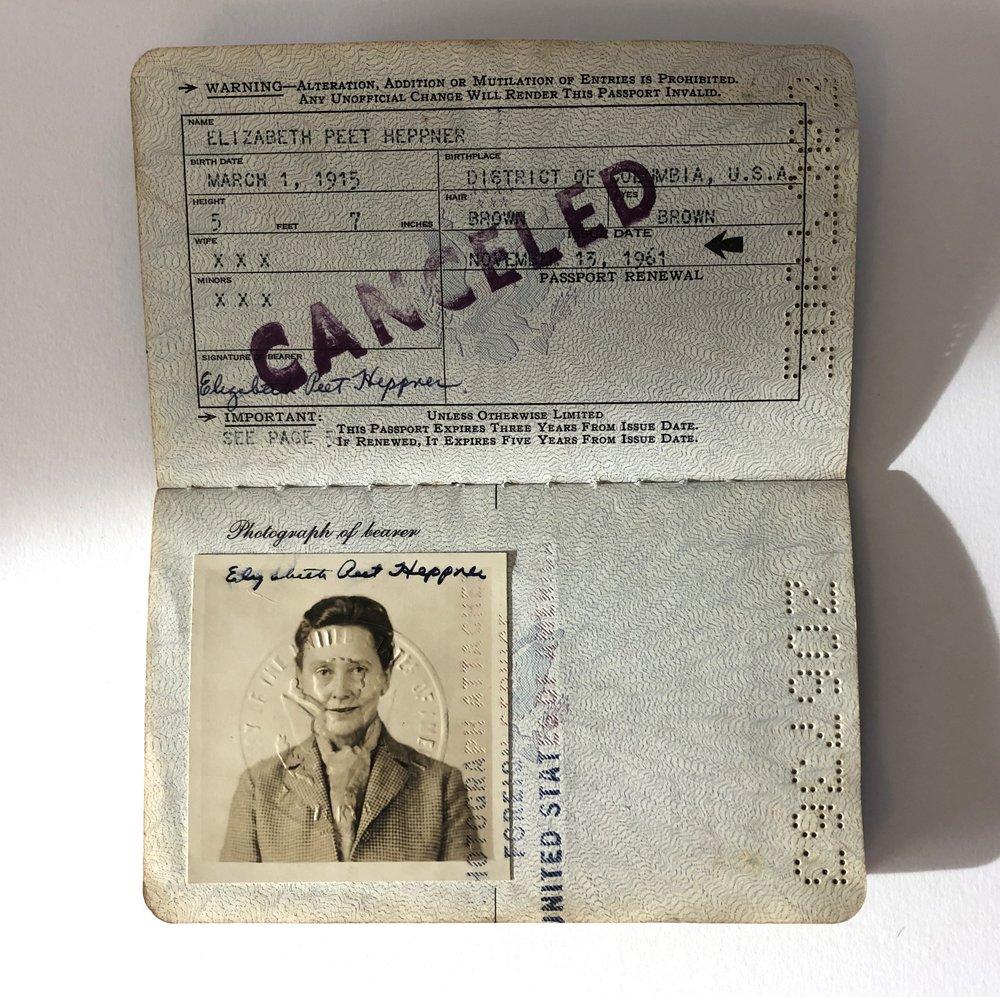Inside of Elizabeth Heppner's passport