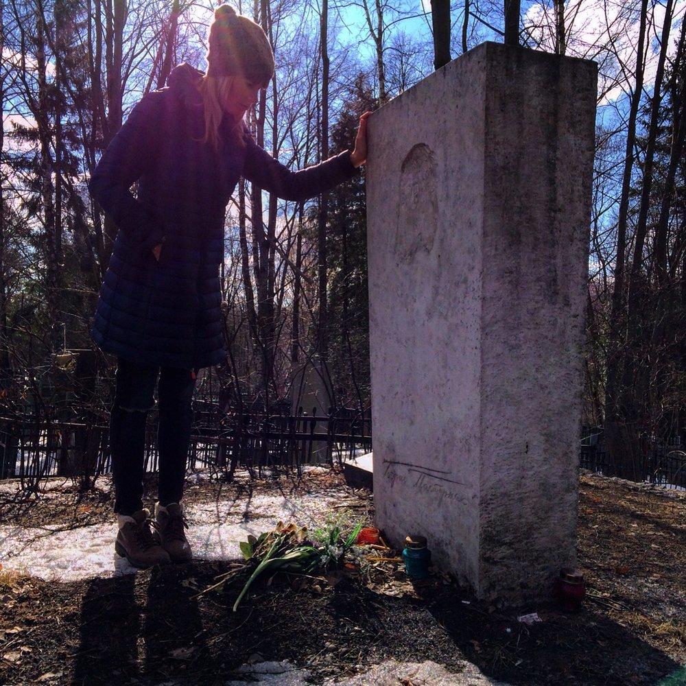 Lara Prescott at Boris Pasternak's grave near his dacha in Peredelkino