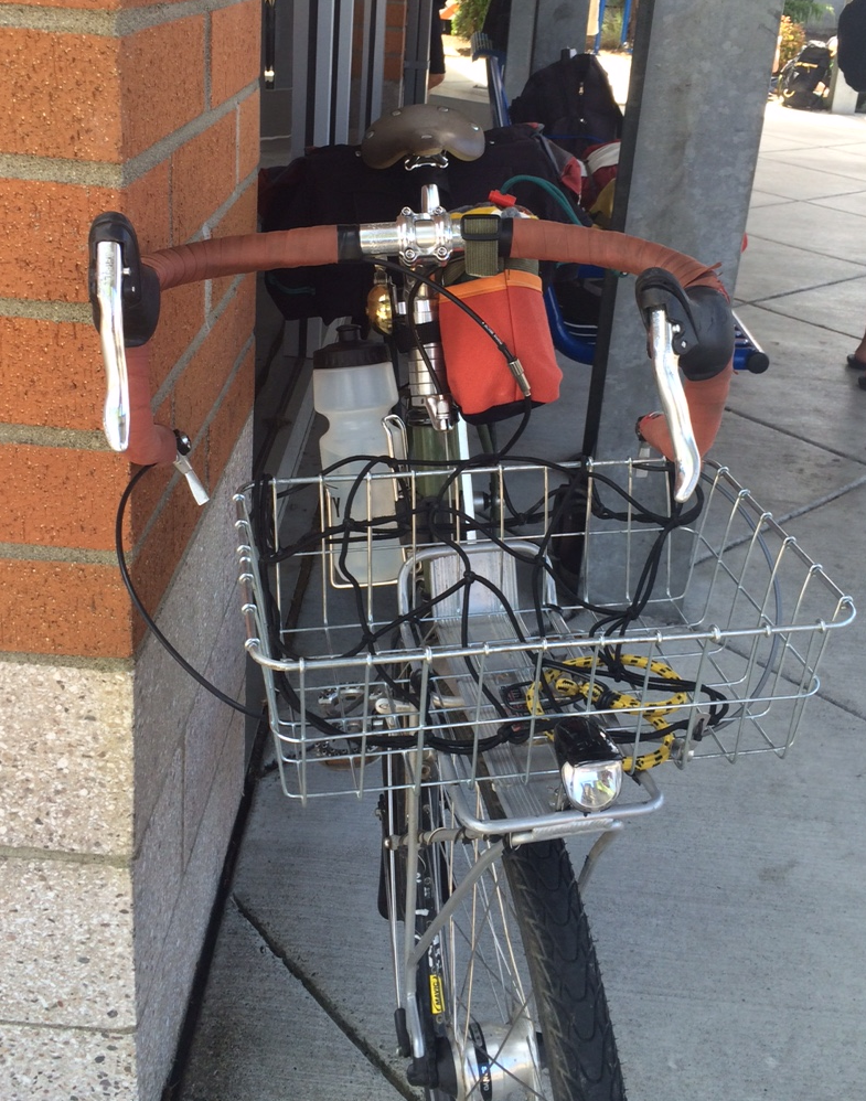 Nitto Noodle handlebars, turned into spaghetti. Outside the Tillamook County Transit office.