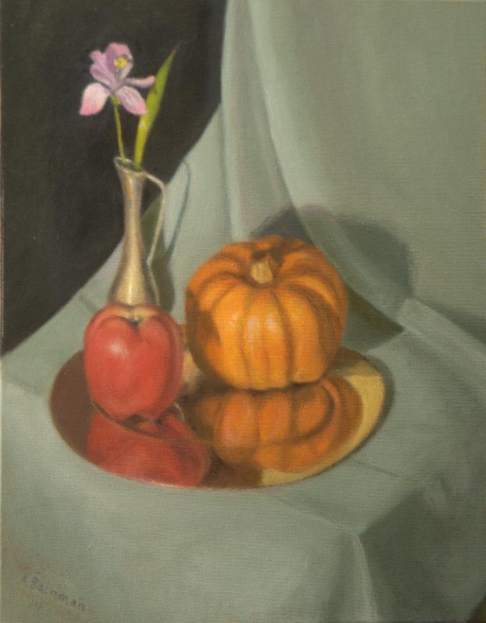 Apple and Pumpkin Still Life